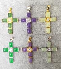 Green Purple Jade Yellow White Gold Plated Cross Xmas Talisman Pendant Necklace