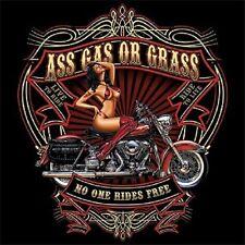 ASS GAS OR GRASS NO ONE RIDES FREE BIKER WORK SHIRT DICKIES BUTTON UP GARAGE