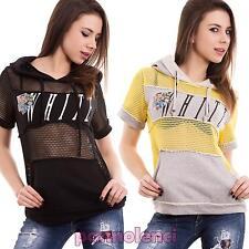 Maglia donna maglietta rete traforata cappuccio maniche corte nuova CC-1379
