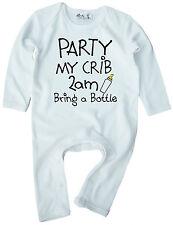 """FUNNY BABY ROMPER """"Festa del mio lettino 2am porta una bottiglia"""" Boy Girl vestiti regalo"""
