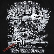 Military US Army T-Shirt Black Tank Hummer Apache Eagle Kicking Ass Star BABA