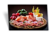 Leinwand-Bild Keilrahmen-Bild Essen Carpaccio Salami Camembert Tomaten