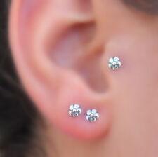 Tragus Earring Cartilage Nose Ring Piercing - Nose Stud --Sterling Silver Flower