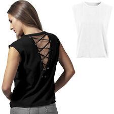Urban Classics Ladies Jersey Lace Up Top T-Shirt XS S M L XL