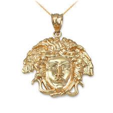 Polished Yellow Gold Medusa Pendant Necklace