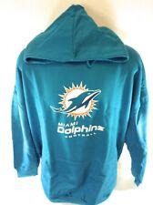NEW Mens Majestic NFL Miami Dolphins Aqua Screen Print Football Pullover Hoodie