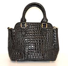 Borsa pelle nera donna coccodrillo vernice bauletto lucida сумка sac bag 1100