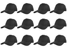 Plain Blank Solid Adjustable Baseball Cap Hats wholesale lot 12pcs