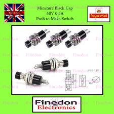 Black Miniature SPST Momentary Push Button Switch Push To Make UK Seller
