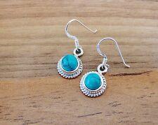 925 Sterling Silver - Semi-Precious Round Gemstone Hook Earrings - SP06