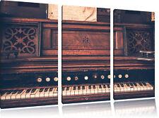 Antiguo Piano 3-Teiler Foto en Lienzo Decoración de Pared Impresión Artística