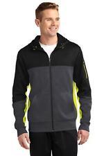 Sport-Tek ST245 Coat Mens Tech Fleece Colorblock Full-Zip Hooded Jacket NEW