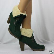 972 Winter Women's Ankle Full Faux Fur Lining Block Heel Green Boots Size 3 - 8