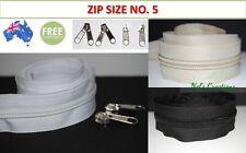 No. 5, 5 meters continuous zip + 10 slider, black, white, beige, zipper, bag diy