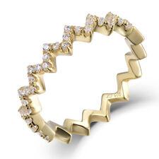 18K Gold Over Sterling Silver Zigzag Cz Eternity Band Ring Women Sz 3-12 SEM3298