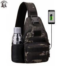 f3d8a6a59f Tactical USB Charging Chest Bag Messenger Shoulder Sling Fanny Pack Hiking  Sport