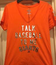 Majestic San Francisco Giants Women's Talk Baseball To Me T-Shirt MLB LorS Foil