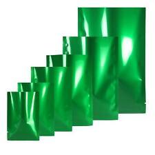 Verde/Plata Brillante Parte Superior Abierta Bolsas Plano Bolsa Mylar TIPO CALOR