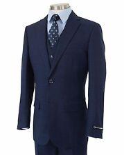 Men's Navy Blue Glen Plaid 3pc 2 Button Slim-Fit Suit w/ Matching Vest NEW