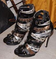 "Timeless ""Eleven"" Multi Coloured Strappy High Heeled Platform Sandals"