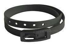 Black Unisex Slim Retro Vintage Leather Style Silicone Belt With Plastic Buckle