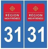 stickers autocollants plaques immatriculation auto Département Haute Garonne 31