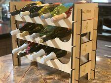 Wine Rack Bottle Holder Storage Display Stackable Modular Tiered Solid Wood