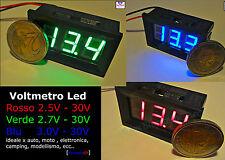 VOLTMETRO DIGITALE LED BLU ROSSO VERDE mini tensione tester pannello moto auto