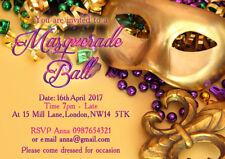 10 x Personalised Masquerade Evening Birthday Party Invitations 004