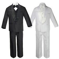 5pc Infant Toddler Boy Wedding Formal Shawl Lapel Tuxedo Black White Suit S - 20