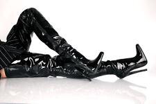 Crotch Overknee High Heels Lack Überknie Stiefel Domina schwarz Fetisch 36-46