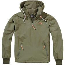 Brandit Luke Windbreaker Mens Hooded Fleece Lined Jacket Warm Hoodie Coat Olive