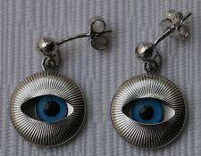 925 Sterling Silver Malta Greek Osiris Evil Eye Earrings Good luck Original