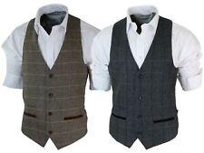 Para hombre Vintage Tweed cuadros Chaleco Herringbone Marrón Tostado Gris Slim Fit Terciopelo Tr