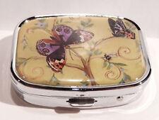 Objets de collection boite en métal  papillons mauves