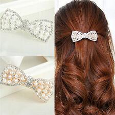 Fashion Crystal Bow Hair Clip Hairpin Barrette Pearl Hair Accessories New UK