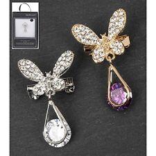 Equilibrium Butterfly teardrop brooch pin Amethyst or Crystal
