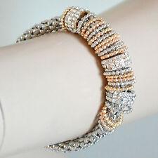BRACCIALE donna ARGENTO anelli cristalli strass pulsera bracelet armband B49