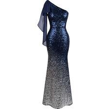 Angel-fashions Women Asymmetric Ribbon Gradual Sequin Mermaid Prom Dress 286