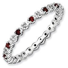 Sterling Silver Stackable Ring Garnet & Diamond stones, Birthstone Rings QSK532