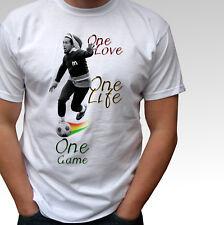 Bob Marley football white t shirt soccer rasta reggae top - mens and kids sizes