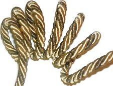 beige / dorés soyeux métal Twisted PASSEPOIL / bordure Corde 9mm, x 2