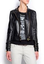 Women Leather Jacket Soft Solid Lambskin New Handmade Motorcycle Biker S M # 46
