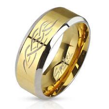 Herren Damen Ring Partnerring aus Edelstahl Gold IP mit Tribal Inlay Silber