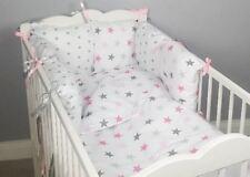 8 pc cot /cot bed bedding sets PILLOW BUMPER + CASES pink stars grey duvet cover