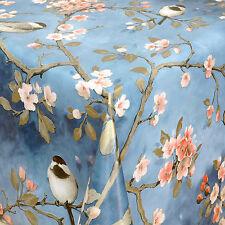 toile cirée nappe table au mètre carré rond OVAL Mésange Fleurs Cerises 01099-01