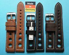 Rallye Uhrband 20, 24mm braun weiches Kalbsleder 3,5mm stark  Made in Germany