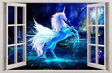 Adesivi Murali Finestra Effetto 3D Zeffiro Unicorno decorazioni murali 45