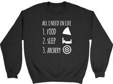 All I Need in Life is Food Sleep and Archery Men Women Ladies Unisex Sweatshirt