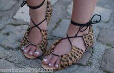 Zara Sandalias Planas De Piel De Leopardo Animal De Cuero Talla 36 37
